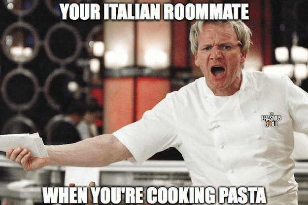erasmus meme about an angry italian roommate cooking pasta