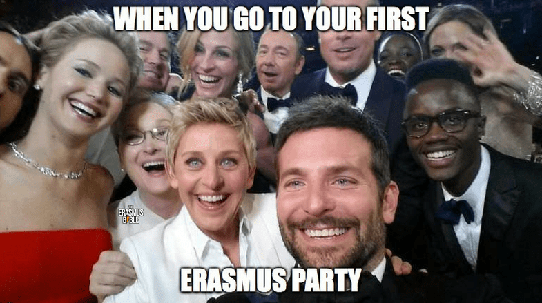 erasmus meme about making massive selfies at party