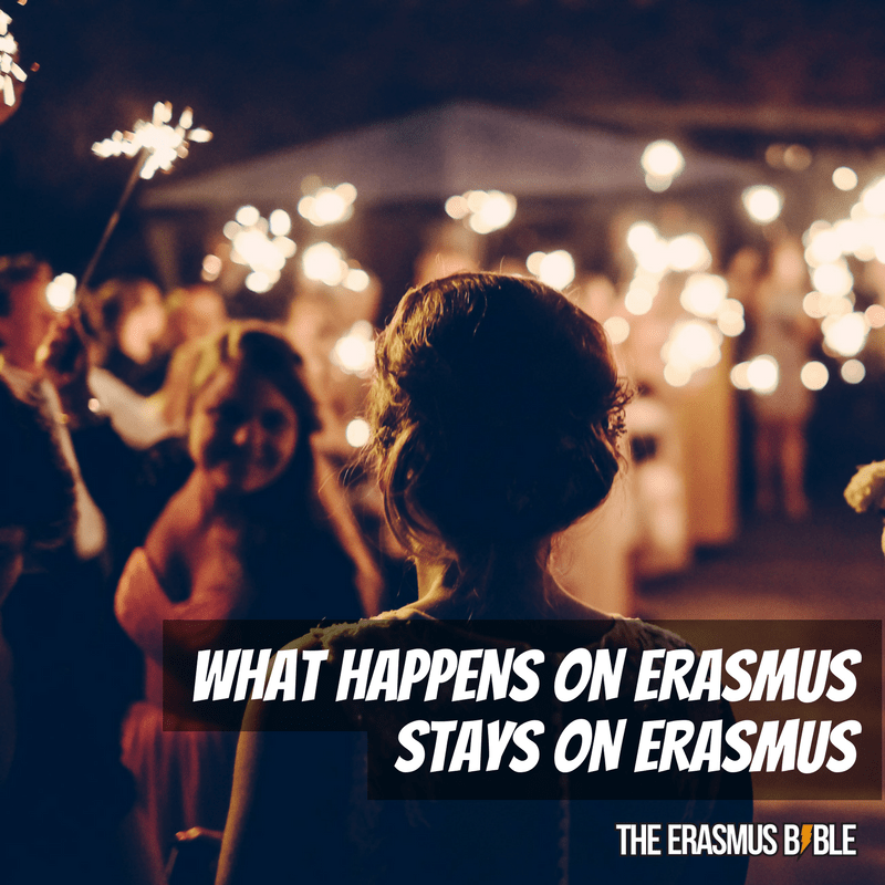 erasmus meme saying what happens on erasmus stays there