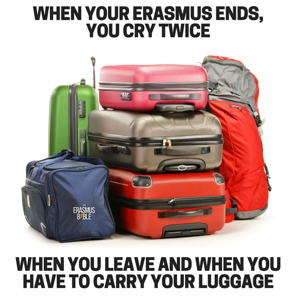 erasmus meme about crying and luggage
