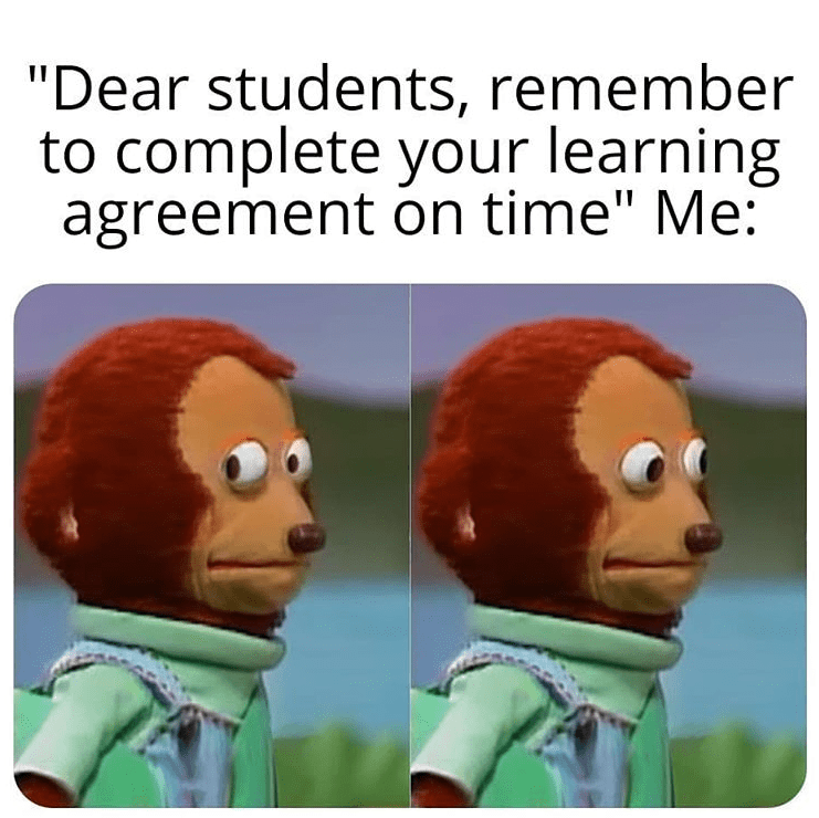 erasmus meme about completing learning agreement on time