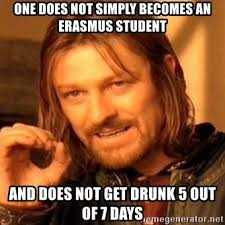 erasmus meme about drinking the whole week