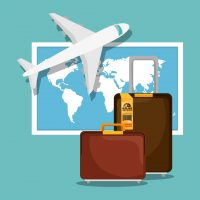 A picture showing a plane, luggage and a world map