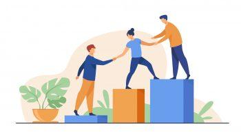 Paveiksliukas vaizduojantis vienas kitam padedančius žmones