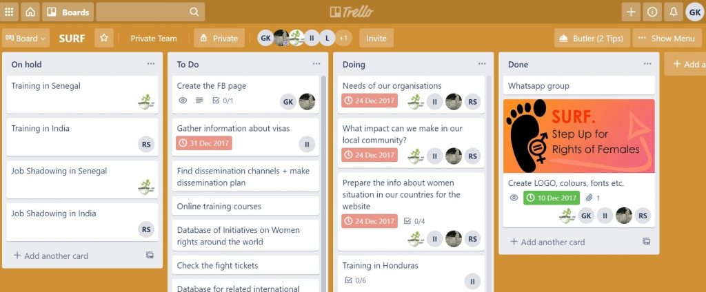 Trello task management tool for NGO