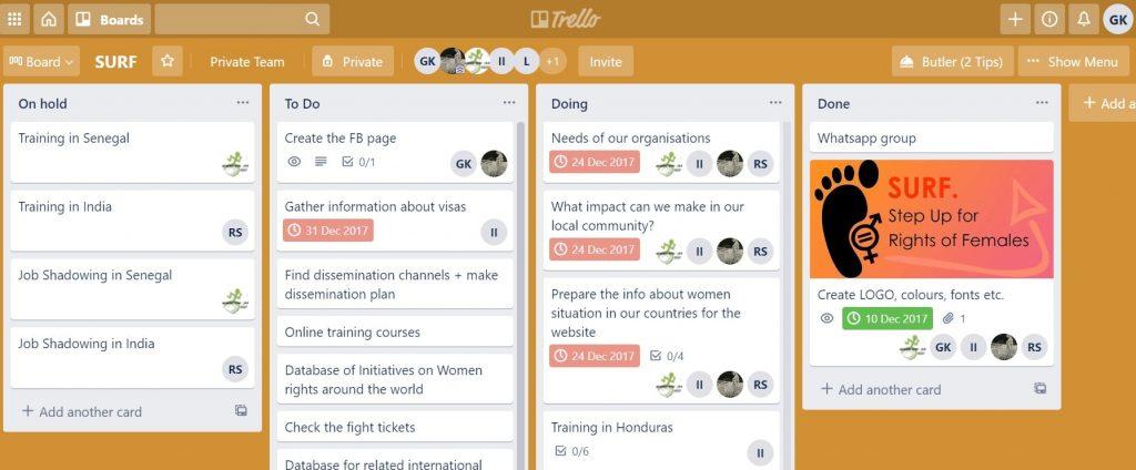 Trello task management tool for NGO