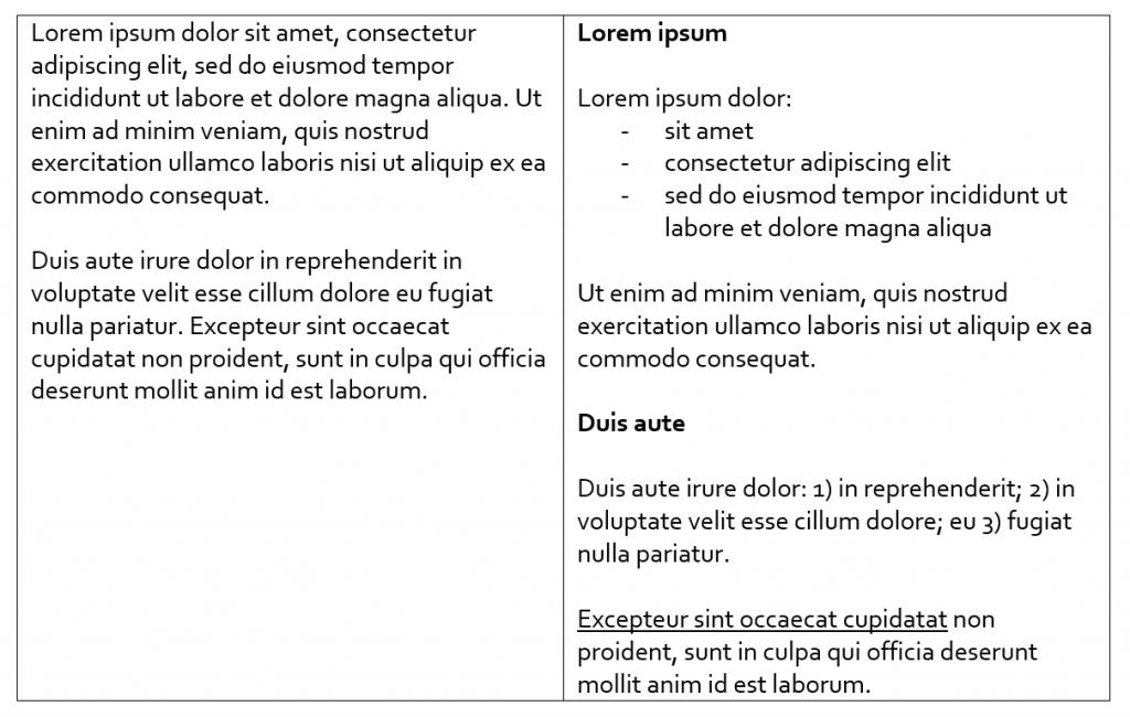 EUKI project application formatting comparison