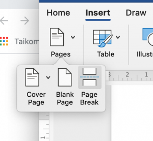 MS Word screenshot to show the previously described trick