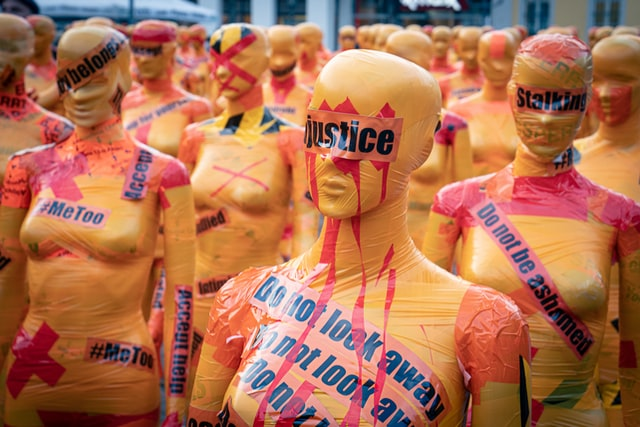 mannequins in a protest against gender-based violence