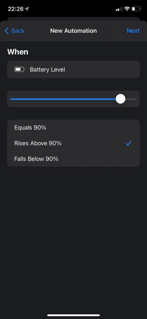 iOS shortcuts baterijos taupymas