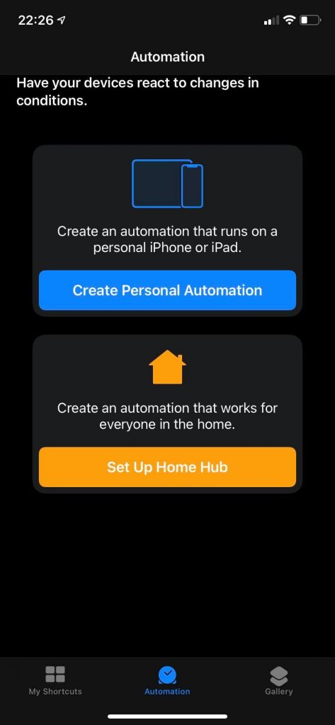 iOS shortcuts new automation