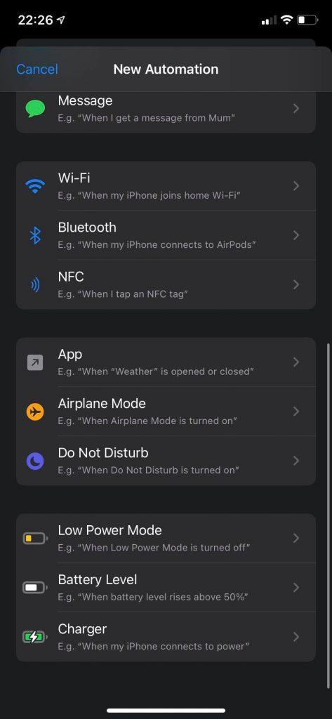 Shortcuts aplikacijos automation actions